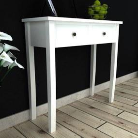 vidaXL Konzolový stolík s 2 zásuvkami, biely