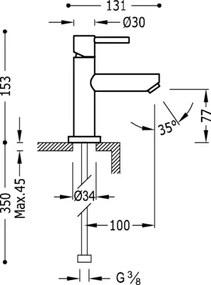 MAX-TRES Umývadlová jednopáková batéria Ø 30 mm (162603)