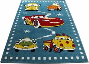 MAXMAX Detský koberec Autíčka - modrý