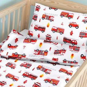 Goldea detské bavlnené obliečky do postieľky - vzor 668 hasičská autá 90 x 120 a 40 x 60 cm