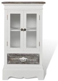 Biela drevená skrinka s 2 dvierkami a 1 zásuvkou