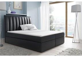 Kontinentálna posteľ Kaspis čierna eko koža 180 + topper zdarma