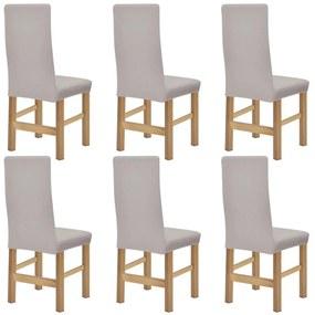Elastický poťah na stoličku, béžový rebrovaný úplet 6 ks