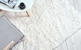 MAXMAX Detský plyšový koberec MAX BIELY-ECRU obdĺžnikový Dlhý vlas (SHAGGY) biela