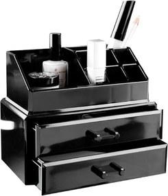 Čierny organizér na kozmetiku s dvomi zásuvkami Compactor