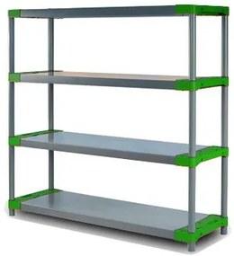REGÁL PLASTOVÝ Tytan-4 138x140x46 PVC Povrchová úprava: Zelená