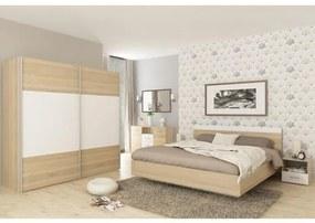 Spálňový komplet (posteľ 160x200 cm), dub sonoma/biela, GABRIELA