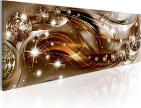 Obraz na plátne Bimago - Ribbon of Bronze and Glitter 150x50 cm