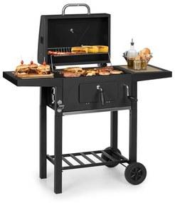 Meat Machine, gril na drevené uhlie, 45 x 32,5 cm, teplomer, kolieska, čierny