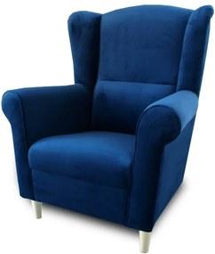 KONDELA Charlot kreslo (ušiak) modrá
