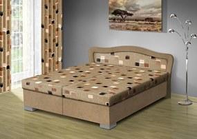 Nabytekmorava Čalúnená posteľ s úložným priestorom Sára180 čalúnenie: béžová/MEGA 16 hnedá, Typ roštov: polohovacie