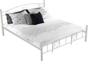 KONDELA Brita 180 kovová manželská posteľ s roštom biela
