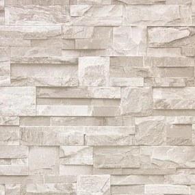 Vinylové tapety, kamenná stena hnedá, J273407, UGEPA, rozmer 10,05 m x 0,53 m