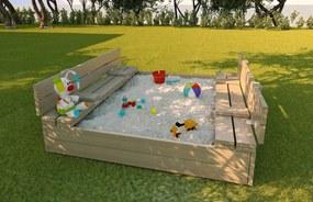 MAXMAX Detské pieskovisko z masívu s lavičkami 120x120 cm - uzatvárateľné