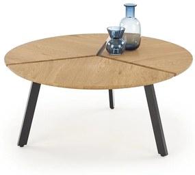 HALMAR Luana okrúhly konferenčný stolík dub zlatý / čierna