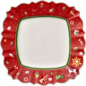 Červený hranatý plytký tanier 28,5 cm Toy's Delig.