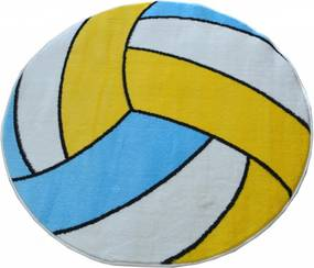 Detský kusový koberec Volejbal biely kruh, Velikosti 100x100cm