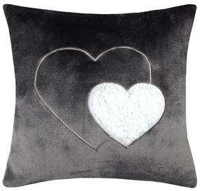 Dekoračný vankúšik COCOON srdce antracitová 40 x 40 cm