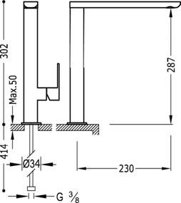 TRES - Jednopáková umyvadlová baterie ramínko 35x15 mm (20020503VED)