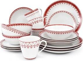 Jídelní souprava, český porcelán, HyggeLine, červená, Leander, 20 d. Bez monogramu: Bez monogramu