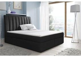 Kontinentálna posteľ Kaspis čierna 200 x 200 + topper zdarma