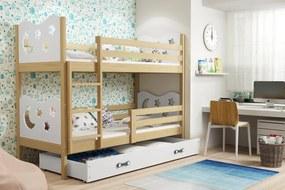 BMS Group Poschodová posteľ MIKO - pre dvoch so zásuvkou - BOROVICA