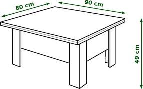 Mazzoni OSLO dub sonoma tabac - rozkladací, zdvíhací, konferenčný stolík