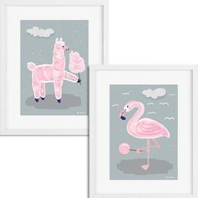 Séria 2 rámovaných obrazov pre deti – Ružové zvieratká - šedá – 40X50 cm