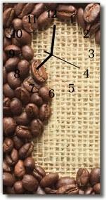 Sklenené hodiny vertikálne  Kuchyňa Kávové zrná béžová