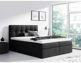 Jednoduchá posteľ Rex 200x200, čierna + TOPPER