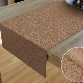 Goldea luxusný dekoračný behúň na stôl - vzor hnedá perokresba 20x120 cm