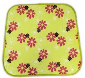 Sedák na křeslo SABA - zelený s květy 30330-220