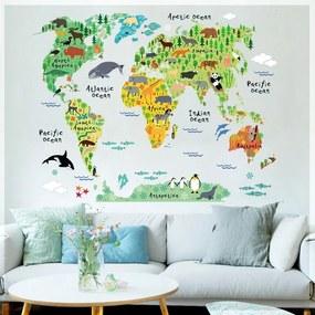 Samolepka na stenu Detská mapa
