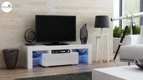 Mazzoni TV stolík MILA lesk 130 LED biela, biela zásuvka
