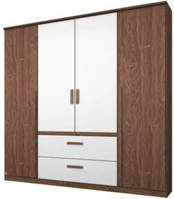 Sconto Šatníková skriňa GABRIELLE dub stirling/alpská biela, 4 dvere, 2 zásuvky