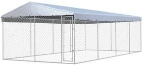 Vonkajšia voliéra pre psy so strechou, pozinkovaná oceľ 8x4 m
