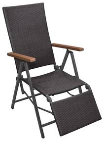 Sklápacia záhradná stolička, polyratan, hnedá 55x65x106 cm