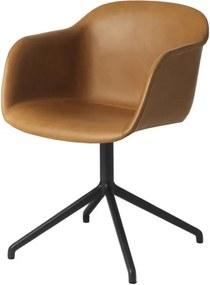 Muuto Stolička Fiber Arm Chair s otočnou podnožou, koža cognac
