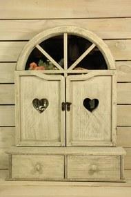 Drevená okenica so zrkadlom, s 2 šuflíkmi a srdiečkami - sivá (50x67x13,5 cm) - vidiecky štýl