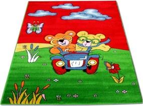 Detský kusový koberec Medvedíky v aute červený, Velikosti 100x200cm