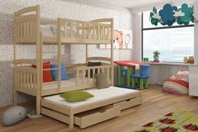 Viki 3-lôžková poschodová posteľ 200x90 borovica