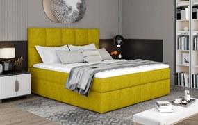 Predĺžená box spring posteľ Grass 210x185cm, žltá žinilka
