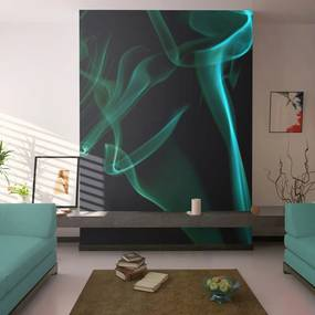 Tapeta - Blue smoke waves 200x154 cm