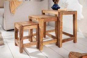 IIG -  Masívna sada 3 bočných stolov FINCA 45 cm mango, prírodná