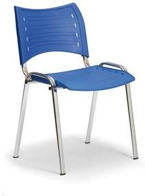 Plastová stolička SMART - chrómované nohy, modrá