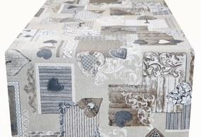 Behúň patchwork 303L so šedohnedými srdiečkami MADE IN IITALY