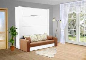 Nabytekmorava Sklápacia posteľ s pohovkou VS 3071P . 200x140 nosnost postele: štandardná nosnosť, farba lamina: biela 113, farba pohovky: nubuk 133 caramel