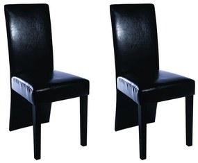 vidaXL Jedálenské stoličky z umelej kože, 2 ks, čierne