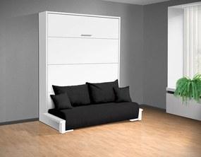 Nabytekmorava Sklápacia posteľ s pohovkou VS 3058P . 200x140 nosnost postele: štandardná nosnosť, farba lamina: dub sonoma/biele dvere, farba pohovky: Alova 04 čierna
