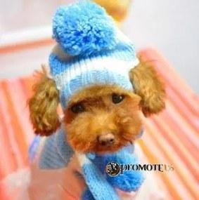 PETOP Zimné čiapky so šálom pre psov GAMBI modrá XS